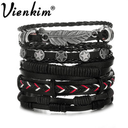 $enCountryForm.capitalKeyWord NZ - Vienkim Feather Pentagram Multiple Layers Leather Bracelets Men Classic Rope Chain Charms Bracelet For Men Armband Jewelry 2019