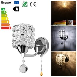 Discount wire light socket - Modern Wall Lamp Crystal Wall Hanging Crystal Lamp Pendant Wire Switch AC 85-250V E14 Socket LED Light American sconce