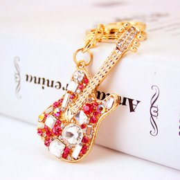 Discount small musical instruments Colorful Crystal Guitar Musical Instrument Keychain Girl Accessories Key Chain Metal Pendant Small Gift Gift