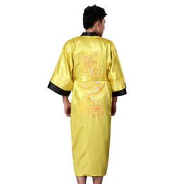 embroidered robes 2019 - Reversible Black Yellow Chinese Men's Satin Robe Gown Tradition Embroider Dragon Sleepwear Kimono Bathrobe S M L XL