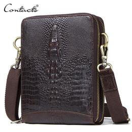 $enCountryForm.capitalKeyWord NZ - Top Quality Men Messenger Shoulder Bag Genuine Leather Vintage Men's Crocodile Crossbody Bag With Card Holder Mobile Phone Pouch Y19061803
