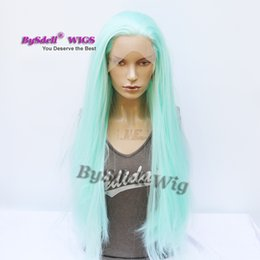 Color Hair Pastels Australia - long straight pastel blue color hair wig synthetic lace front wig summer mint green color hair wigs for fashion lady