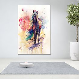 Decorative Canvas Print Art Australia - 1 Piece Watercolor Horses Animal Decorative Pictures Wall Art Print Posters Abstract Art For Living Room Canvas Painting Cuadros No Frame
