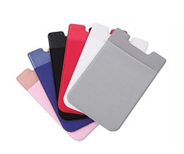 Discount mobile phone case wallet - Colorful Lycra Cellphone Back Pocket Mobile Phone Wallet Credit ID Card Holder Pocket Adhesive Sticker Lycra Accessories