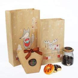 Pattern Cookies Bags Australia - Christmas Fox & Deer Pattern Kraft Paper Packing Bags Candy Cookies Bag DIY Baking Package with Stickers