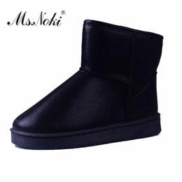 Platform Glitter Ankle UK - Ms.Noki female Warm Short Plush Winter Women Ankle Boots Platform Glitter Fashion Snow Boots 2017 Ladies Shoes Waterproof Flats