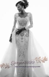 Crystal Images Wedding Australia - 2019 gorgeous Middle East Wedding Dresses Mermaid Bridal Dresses Luxury Sexy Lace crystal Bridal Wedding Gowns Detachable Steven Khalil