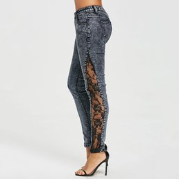 $enCountryForm.capitalKeyWord Australia - Jeans Women Plus Size Sheer Lace Side Low Waist Jeans Slim Casual Skinny Lace Panel Pencil Denim See Through Pants