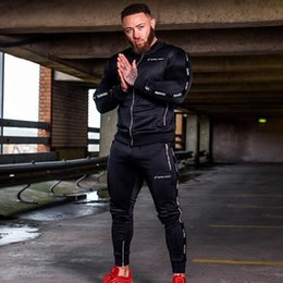 Body Fitness Suit Australia - Joggers Gym Sport Wear Running Set Mens Tracksuit Long Sleeve Two Piece Set Fitness Body building Man Sweatshirt+Pants Male Suit #105998
