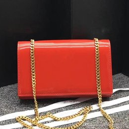 Genuine Leather Crossbody Handbags Wholesale Australia - Women Patent Leather Golden Chain Shoulder Tassel Bag Flap Chain Crossbody Bag Designer Clutch Bags Messenger Purse Handbag