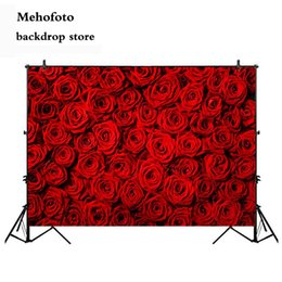 spray painted backdrop 2019 - Mehofoto Valentine's Day Rose Wall Photo Shoot Background Red Rose Wedding Photography Backdrop Birthday Decoration