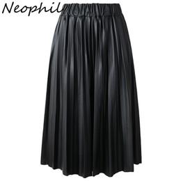 $enCountryForm.capitalKeyWord Australia - Neophil 2019 Summer Ladies Black Pu Faux Leather Skirts Midi Pleated High Waist Vintage Basic Mid-calf Women Longa Saia S1927 MX190729