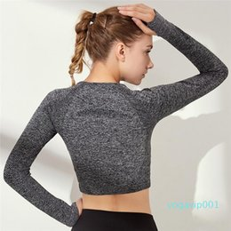 long sleeve yoga tops Canada - Sports Outdoor Europe and America Leisure Fitness Skinny Nylon Stretch Yoga Wear Long Sleeve Top Wholesale