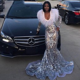 Feather Cap Sleeves Australia - 2019 Luxury Silver Sequin Feather Black Girl Prom Dresses Long Sleeve Sexy V-Neck Mermaid Plus Size African Evening Formal Dress Abendkleid