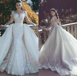 wedding dresses removable sleeve UK - 2019 Luxury New Custom Made Removable Train Mermaid Wedding Dresses Long Sleeves Bridal Gowns White Ivory
