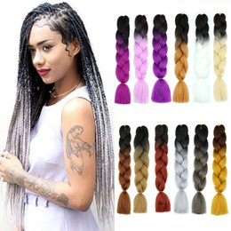 $enCountryForm.capitalKeyWord Australia - Ombre 2 Colors Long Synthetic Xpression Braiding Hair 24inches 100g pack Jumbo Braids Kanekalon Xpression Braiding Hair Crochet Braids Hair
