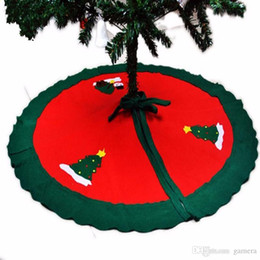 Christmas Ornament For Tree Australia - Wholesale- 1PC 90CM xmas Santa Claus Snowman Christmas red Tree Skirt ornaments Blue Nonwovens new year decorations items for home