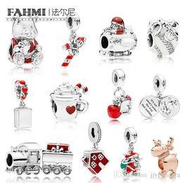 $enCountryForm.capitalKeyWord Australia - FAHMI 100% 925 Sterling Silver Christmas Series Santa in Space Train Charm Gift Bag Hanging Charm COSY CHRISTMAS HOUSE Original