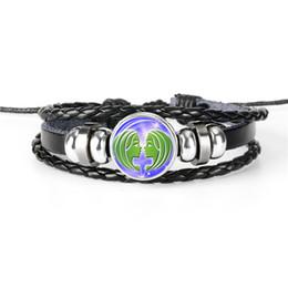$enCountryForm.capitalKeyWord Australia - 2019 New Leather Rope Beaded Bracelets Wrap Multilayer 12 Constellations Zodiac Gemini Time Gem Glass Cabochon Bangles for Women Men Jewelry