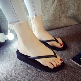 $enCountryForm.capitalKeyWord Australia - New 1 Pair Comfortable Summer Women Home Beach Soft Wedge Sandals PU Non-slip Leisure Slippers Mid Heels Platform Flip Flops
