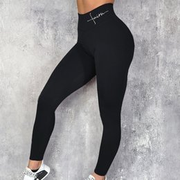 wholesale yoga pants UK - YOGA Pants Fitness Push Up Leggings Women Elastic Slim Sport Letters Print Legging Female High Waist Workout Gym Leggins