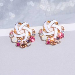 Wholesale Korean Style Cute Crystal Flower Stud Earring For Women Girls New Fashion Sweet Earring Femme Brincos Summer Jewelry Gifts WX226