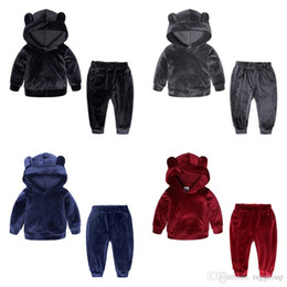 kids tracksuits sport suits NZ - Free DHL Spring New Kids Boys Tracksuits Ears Sports Girls Hoodies with Pants 2pieces Set Outwears Winter Velvet Toddler Kids Clothing Suits