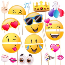$enCountryForm.capitalKeyWord Australia - 20pcs Funny Emoji Photo Booth Props Photobooth DIY Kits for Wedding Birthday Party Decoration Game Favor Gifts Supplies