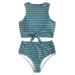 $enCountryForm.capitalKeyWord UK - Hot Sale Women's Swimwear Bikini Set Two Piece Knot Front Crop Top Swimsuit with Floral Bottom Sexy Cross Swimwear Biquini
