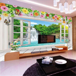 house window stickers Canada - custom size 3d photo wallpaper living room mural window flower waterfall lake 3d picture sofa TV backdrop wallpaper non-woven wall sticker