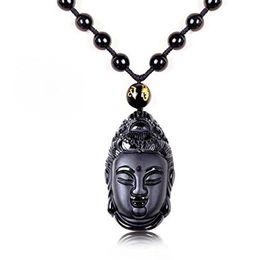 Jade Guan Yin Pendant Australia - Koraba Fine Jewelry C1lint7785631 Hand Carved Natural Obsidian Avalokitesvara Kwan-Yin Guan Yin Bodhisattva Necklace Pendant