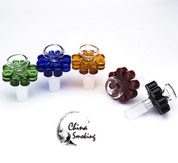 pipes for watering flowers Canada - Colored Glass Bowl Herb Holder Flower style 10mm 14mm 18mm Male Smoke Accessory For Glass Bong Water Pipe