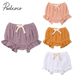 toddler ruffle shorts bloomers Australia - 2019 Baby Summer Clothing Toddler Infant Baby Girls Boy Solid Shorts Bottoms Ruffled PP Bloomers Cotton Lace Up Panties 0-24M