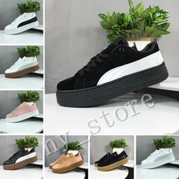 Black creepers lace online shopping - Best Smash Platform SD Platform Wheat Pink Casual shoes Fenty Cleated Creeper Professional shoes Women PM Suede Creepers