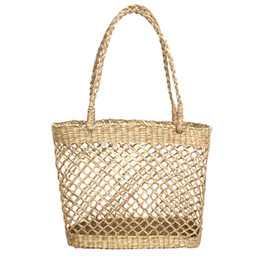 Chinese  Hollow Mesh Handmade Straw Bag Casual Woven Handbags Shoulder Beach Bag Unlined Cloth Totes Fashionable Bags For Summer manufacturers