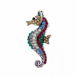 brooches needles Australia - Crystal Seahorse Multi-color Brooches For Women Accessories Lady Jewelry Rhinestone Collar Needle Boutonniere Pin Buckle Brooch