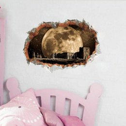 broken tvs Australia - Starry sky space and moon fashion self-adhesive broken wall castle wall stickers bedroom TV background wallpaper painting