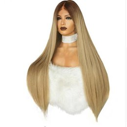 Lace Front Synthetic Wigs Price Australia - Factory price 1pc Women Fashion Lady Gold Straight Lace Front Wig 26inch Heat Resistant Synthetic Fiber Wigs Stand Mar15
