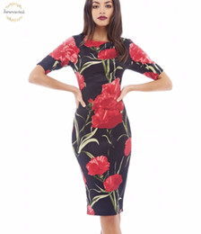 free clothe Australia - Free Women Dress Fashion Designer Clothes Elegant Floral Print Work Business Casual Party Sheath Vestidos Shipping 004