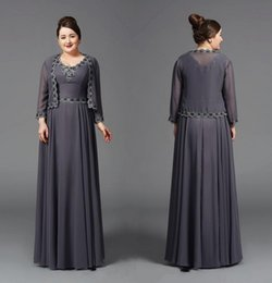 00a596e3cecd Unique Design A Line V Neck Mother Of The Bridal Dresses With Long Sleeve  Jacket Floor Length Grey Chiffon Appliques Women Formal Gowns