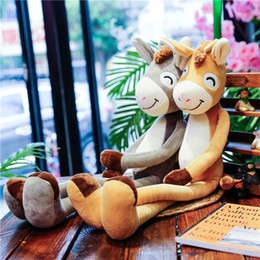 Cartoon Plush Pillows Australia - Lovely Cartoon Plush Toy, Donkey Doll, Big Size Stuffed Animal, Pillow, Bolster, for Party Kid' Birthday Gifts, Collecting, Home Decorations