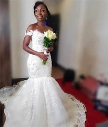 Mermaid Wedding Dresses Nigeria Australia - Mermaid African Wedding Dresses Off The Shoulder Vintage Lace 3D Floral Black Girls Nigeria Arabic Country Wedding Dress Beach Bridal Gowns