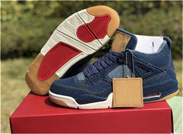 1461a92e527a Hottest 4 Denim 4S Blue Black White Jean Men Basketball Shoes Authentic  Quality Sports Sneakers With box AO2571-401