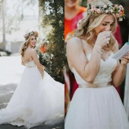 $enCountryForm.capitalKeyWord Australia - Country Style Wedding Dresses 2019 New Designer A Line Sweetheart Strapless Lace Appliques Tulle Floor Length Elegant Bride Dresses Boho