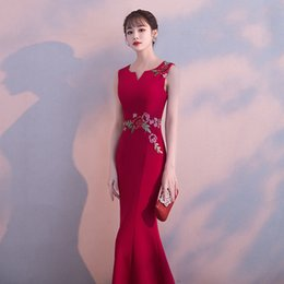 $enCountryForm.capitalKeyWord Australia - Sexy Slim Flower Embroidery long Fishtail Chinese style evening dress Chinese Wedding Toast Dress Size XS-3XL