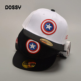 1f656872c97a7 Designer Captain America Embroidery Kid Hats Adjustable Snapback Children  Party Flat Brimmed Baseball Caps Summer Sports Hip Hop Sun Visor