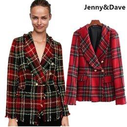 Discount scotland top - Jenny&Dave winter blazer feminino england style plaid burrs double breasted twill Scotland blazers women tops jacket plu