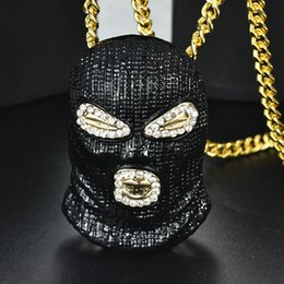 BuBBle products online shopping - New diamond studded hip hop three color mask pendant nightclub bubble bar single product tide men s jewelry necklace