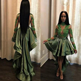 Hi lo see tHrougH dresses online shopping - African Hunter Green Black Girls High Low Prom Dresses Sexy See Through Appliques Sequins Sheer Long Sleeves Cocktail Evening Gowns