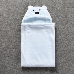 newborn hooded blanket NZ - 1pc Lovely Bear shaped Velvet Baby Hooded Bathrobe Soft Infant Newborn Bath Towel Blanket for Girls and Boys 3 Colors To Chosse